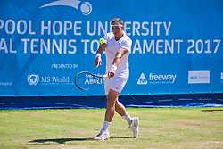 LIVERPOOL, ENGLAND - Sunday, June 18, 2017: Marcus Willis (GBR) during the Men's Final on Day Four of the Liverpool Hope University International Tennis Tournament 2017 at the Liverpool Cricket Club. (Pic by David Rawcliffe/Propaganda)