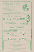 Irish Rugby Football Union, Ireland v Wales, Five Nations, Ravenhill, Belfast, Northern Ireland, Saturday 11th March, 1950,.11.3.1950, 3.11.1950,..Referee- Mr R A Beattie, Scotland, ..Score- Ireland 3 - 6 Wales,..Irish Team,..G  E Norton, Wearing number 15 Irish jersey, Full back, Bective Rangers Rugby Football Club, Dublin, Ireland,  ..M F Lane,  Wearing number 14 Irish jersey, Right wing, University college Cork Football Club, Cork, Ireland,  ..R J H Uprichard, Wearing number 13 Irish jersey, Right centre, R A F Rugby Football Club, England, ..G C Phipps, Wearing number 12 Irish jersey, Left centre, Rosslyn Park Rugby Football Club, London, England, ..L Crowe, Wearing number 11 Irish jersey, Left Wing, Old Belvedere Rugby Football Club, Dublin, Ireland, ..J W Kyle, Wearing number 10 Irish jersey, Out half, Queens University Rugby Football Club, Belfast, Northern Ireland,..R Carroll, Wearing number 9 Irish jersey, Scrum half, Landsdowne Rugby Football Club, Dublin, Ireland, ..T Clifford, Wearing number 8 Irish Jersey, Forward, Young Munster Rugby Football Club, Limerick, Ireland, ..K Mullen, Wearing number 7 Irish Jersey, Captain of the Irish team, Forward, Old Belvedere Rugby Football Club, Dublin, Ireland, ..D McKibbin, Wearing number 6 Irish jersey, Forward, Instonians Rugby Football Club, Belfast, Northern Ireland, ..J E Nelson, Wearing number 5 Irish jersey, Forward, Malone Rugby Football Club, Belfast, Northern Ireland, ..R D Agar, Wearing number 4 Irish jersey, Forward, Malone Rugby Football Club, Belfast, Northern Ireland, ..J McCarthy, Wearing number 3 Irish jersey, Forward, Dolphin Rugby Football Club, Cork, Ireland, ..D J O'Brien, Wearing number 2 Irish jersey, Forward, London Irish Rugby Football Club, Surrey, England, and, Old Belvedere Rugby Football Club, Dublin, Ireland, ..J W McKay, Wearing number 1 Irish jersey, Forward, Queens University Rugby Football Club, Belfast, Northern Ireland,..Welsh Team, ..G Williams, Wearing number 1 Welsh jersey, Full