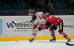 25.09.2016, Ice Rink, Znojmo, CZE, EBEL, HC Orli Znojmo vs HCB Suedtirol Alperia, 4. Runde, im Bild v.l. Michele Marchetti (HCB Sudtirol) David Bartos (HC Orli Znojmo) // during the Erste Bank Icehockey League 4th Round match between HC Orli Znojmo and HCB Suedtirol Alperia at the Ice Rink in Znojmo, Czech Republic on 2016/09/25. EXPA Pictures © 2016, PhotoCredit: EXPA/ Rostislav Pfeffer