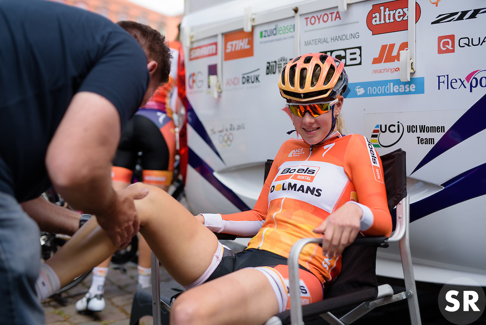 Demi de Jong (Boels Dolmans) gets a quick rub ahead of Thüringen Rundfarht 2016 - Stage 1 a 67km road race starting and finishing in Gotha, Germany on 15th July 2016.