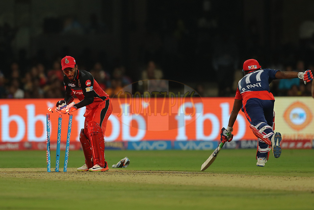 Vishu vinod of the Royal Challengers Bangalore  attempts to run out Rishabh Pant of the Delhi Daredevils during match 5 of the Vivo 2017 Indian Premier League between the Royal Challengers Bangalore and the Delhi Daredevils held at the M.Chinnaswamy Stadium in Bangalore, India on the 8th April 2017<br /> <br /> Photo by Ron Gaunt - IPL - Sportzpics