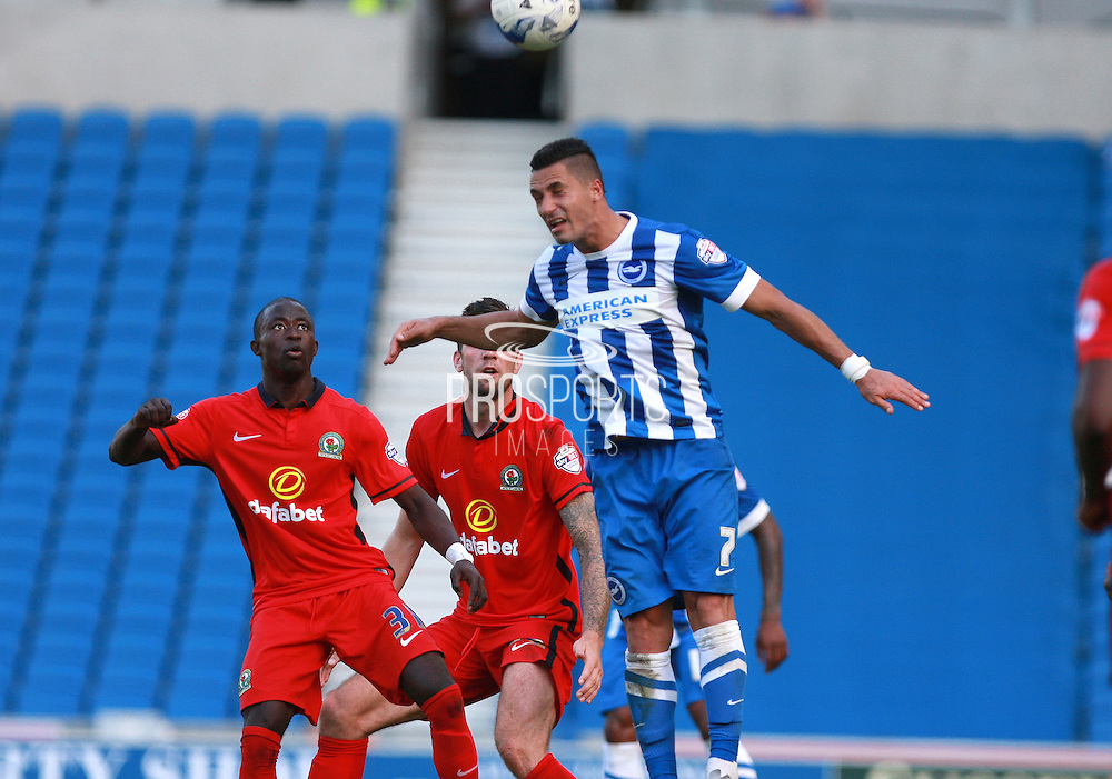 Brighton central midfielder Beram Kayal wins a high ball during the Sky Bet Championship match between Brighton and Hove Albion and Blackburn Rovers at the American Express Community Stadium, Brighton and Hove, England on 22 August 2015. Photo by Bennett Dean.