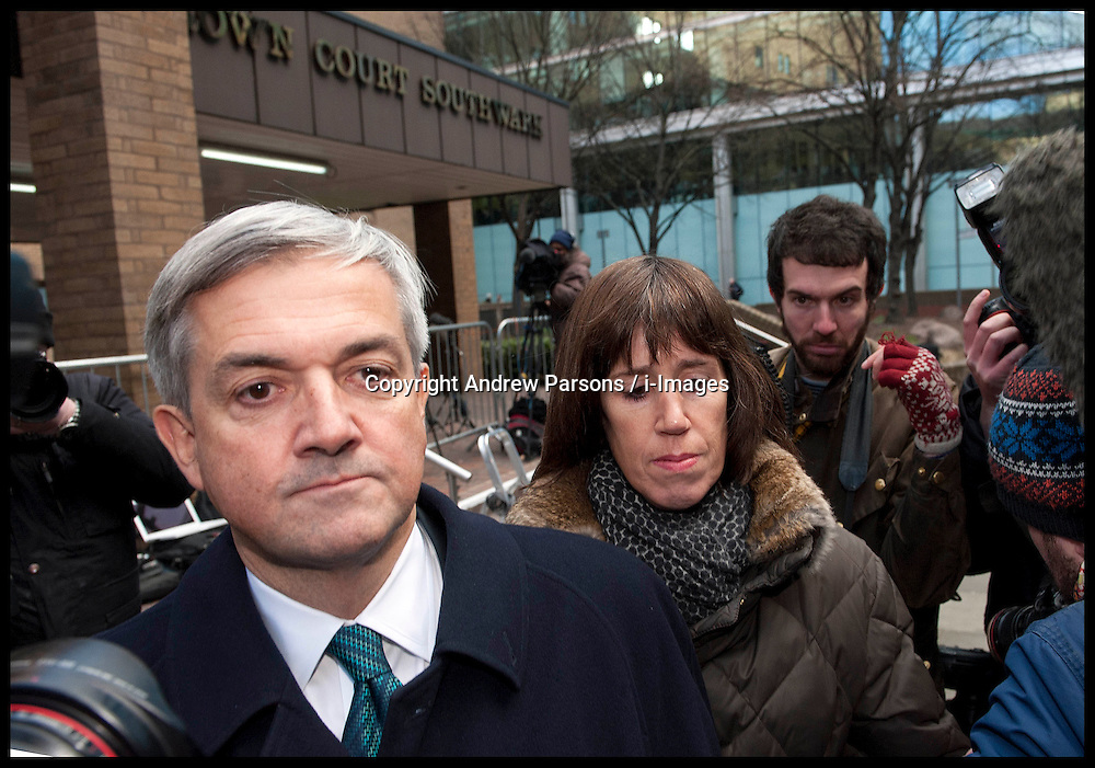 Former energy secretary Chris Huhne and his partner Carina Trimingham leave Southwark Crown Court after he pleads Guilty in the Trial with his ex-wife Vicky Pryce over speeding penalty. The former couple are both accused of perverting the course of justice. It is alleged that Huhne persuaded Pryce to take his penalty points for a speeding offence in 2003, Southwark Crown Court, London, Monday February 4, 2013. Photo: Andrew Parsons / i-Images