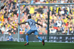 GEORGE THOMAS COVENTRY CITY RUNS TO CELEBRATE COVENTRYS FIRST GOAL, Coventry City v Oxford United, EFL Checkatrade Trophy Final, Wembley Stadium Sunday 2nd April 2017, <br /> Score Coventry 2-1 Oxford<br /> PhotoMike Capps