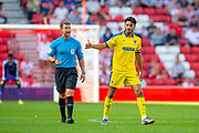 Will Nightingale (#5) of AFC Wimbledon gives a thumbs up to referee Anthony Backhouse during the EFL Sky Bet League 1 match between Sunderland and AFC Wimbledon at the Stadium Of Light, Sunderland, England on 24 August 2019.