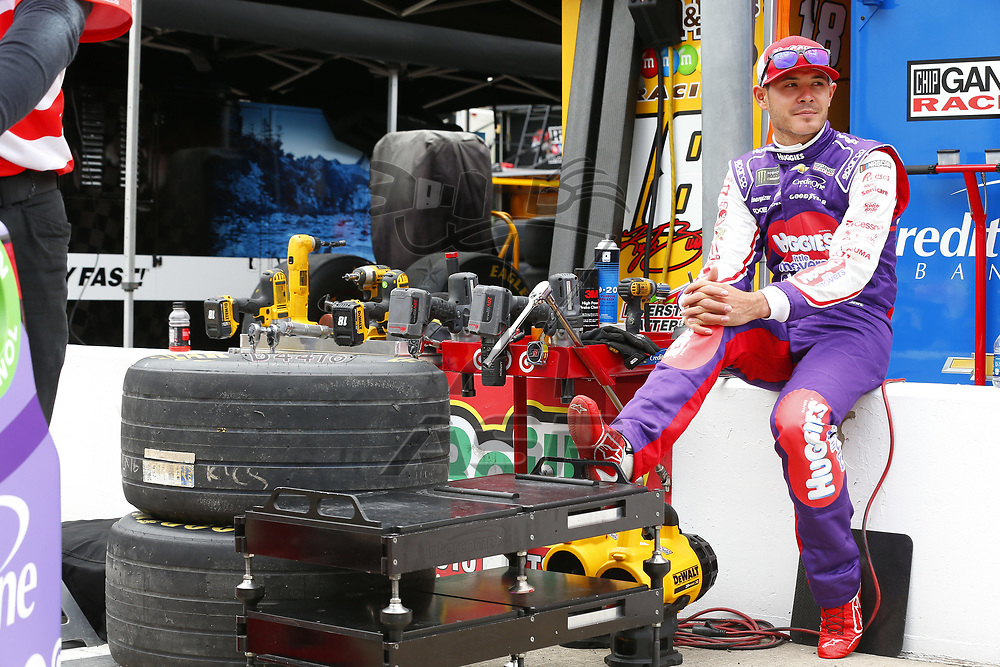 August 18, 2017 - Bristol, Tennessee, USA: Kyle Larson (42) hangs out in the garage during practice for the Bass Pro Shops NRA Night Race at Bristol Motor Speedway in Bristol, Tennessee.