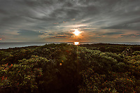 Sunset as seen from Lookout Tower--the highest accessible point on the island--on Little Corn Island, Nicaragua. Copyright 2017 Reid McNally.