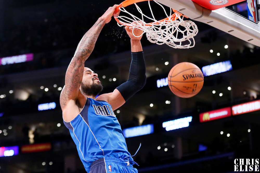 12 April 2014: Dallas Mavericks center Tyson Chandler (6) dunks the ball during the Dallas Mavericks 120-106 victory over the Los Angeles Lakers, at the Staples Center, Los Angeles, California, USA.