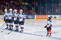 KELOWNA, CANADA - JANUARY 5: The Pepsi Player of the game lines up on the blue line with Kaedan Korczak #6, Nolan Foote #29, Gordie Ballhorn #4 and Leif Mattson #28 of the Kelowna Rockets against the Seattle Thunderbirds on January 5, 2017 at Prospera Place in Kelowna, British Columbia, Canada.  (Photo by Marissa Baecker/Shoot the Breeze)  *** Local Caption ***