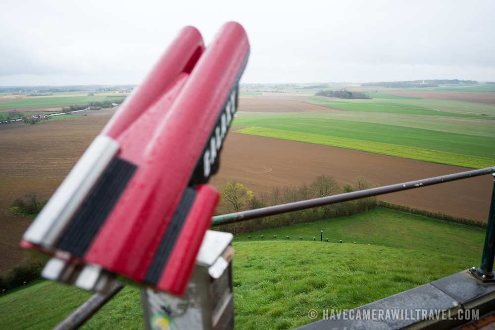 A pair of binoculars at the Lion's Mound (Butte du Lion), an artificial hill built on the battlefield of Waterloo to commemorate the location where William II of the Netherlands was injured during the battle. The hill is situated on a spot along the line where the Allied army under the Duke of Wellington's command took up positions during the Battle of Waterloo.