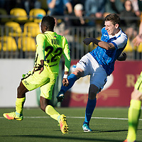 FK Trakai v St Johnstone…06.07.17… Europa League 1st Qualifying Round 2nd Leg, Vilnius, Lithuania.<br />Blair Alston's shot is deflected wide<br />Picture by Graeme Hart.<br />Copyright Perthshire Picture Agency<br />Tel: 01738 623350  Mobile: 07990 594431