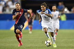 July 7, 2017 - Harrison, New Jersey, U.S - Honduras defender HENRY FIGUEROA (4) takes the ball away from Costa Rica forward MARCO UREÃ'A (21) during CONCACAF Gold Cup 2017 action at Red Bull Arena in Harrison New Jersey Costa Rica defeats Honduras 1 to 0. (Credit Image: © Brooks Von Arx via ZUMA Wire)