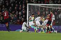 Football - 2017 / 2018 EFL Carabao (League) Cup - Fourth Round : AFC Bournemouth vs. Norwich City<br /> <br /> Bournemouth's Steve Cook fires through a crowd of players to score at the Vitality Stadium (Dean Court) Bournemouth <br /> <br /> COLORSPORT/SHAUN BOGGUST