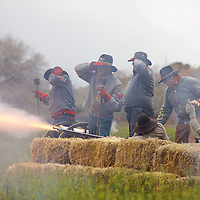 """Superb Reenactment of the Battle of Glorieta pass, aka """"the Gettysburg of the West"""". Confederate forces fire upon advancing Union forces in a bid to ensure a successful invasion of the New Mexico territory during the war."""