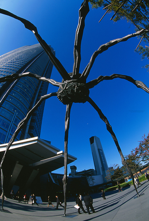 Maman (Spider sculpture) and the Mori Tower, Roppongi Hills