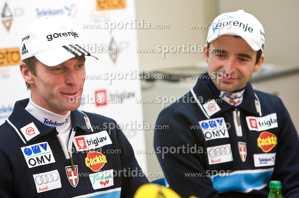 Coach Matjaz Zupan and Franci Petek at press conference of Slovenian Ski Federation after cross-country Tour de Ski and Ski jumping at Kulm, on January 11, 2010 in SZS, Ljubljana, Slovenia.  (Photo by Vid Ponikvar / Sportida)