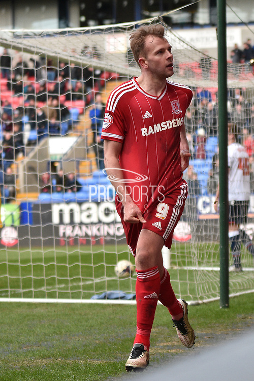 Middlesbrough Forward,  Jordan Rhodes scores a second during the Sky Bet Championship match between Bolton Wanderers and Middlesbrough at the Macron Stadium, Bolton, England on 16 April 2016. Photo by Mark Pollitt.