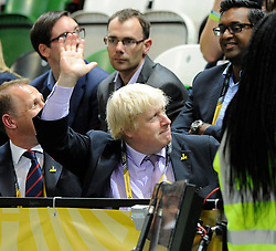 Mayor of London, Boris Johnson attends the wheelchair rugby during the invictus games - Photo mandatory by-line: Dougie Allward/JMP - Mobile: 07966 386802 - 12/09/2014 - The Invictus Games - Day 2 - Wheelchair Rugby - London - Copper Box Arena