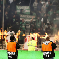 Illustration Fire in stadium during the SuperLeague match between Panathinaikos and Olympiakos on 17th March 2019<br /> Photo : Icon Sport