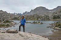 Hiker at Island Lake Wind River Range Wyoming