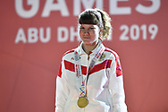 Abu Dhabi, United Arab Emirates - 2019 March 15: Anna Baranova from Russia took the first place and gold medal in roller skating while  Special Olympics World Games Abu Dhabi 2019 on March 15, 2019 in Abu Dhabi, United Arab Emirates. (Mandatory Credit: Photo by (c) Adam Nurkiewicz)