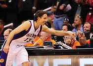 Feb. 19, 2012; Phoenix, AZ, USA; Phoenix Suns guard Steve Nash (13) reacts on the court while playing against the Los Angeles Lakers at the US Airways Center. Mandatory Credit: Jennifer Stewart-US PRESSWIRE..