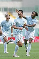 Fotball<br /> Italia Serie A<br /> Foto: Inside/Digitalsport<br /> NORWAY ONLY<br /> <br /> Luis Jimenez (Lazio) celebrates after scoring Cristian Manfredini (R) and Sebastiano Siviglia (L)<br /> <br /> 6 May 2007 (Match Day 35)<br /> <br /> Lazio v Livorno (1-0)