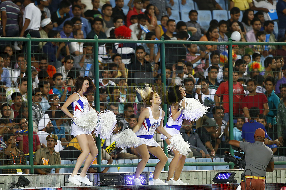 Delhi Daredevils cheer leaders performed during match 23 of the Pepsi Indian Premier League Season 2014 between the Delhi Daredevils and the Rajasthan Royals held at the Feroze Shah Kotla cricket stadium, Delhi, India on the 3rd May  2014<br /> <br /> Photo by Deepak Malik / IPL / SPORTZPICS<br /> <br /> <br /> <br /> Image use subject to terms and conditions which can be found here:  http://sportzpics.photoshelter.com/gallery/Pepsi-IPL-Image-terms-and-conditions/G00004VW1IVJ.gB0/C0000TScjhBM6ikg