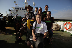 MAURITIUS 8MAY13 - Local volunteers after open boat day at the Esperanza in port in La Reunion.<br /> <br /> The Greenpeace ship Esperanza is on patrol in the Indian Ocean documenting fishing activties.<br /> <br /> <br /> <br /> jre/Photo by Jiri Rezac / Greenpeace