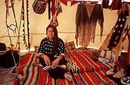 Sonja Holy Eagle in Tipi, Lakota, South Dakota, USA