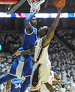 """Mississippi's Murphy Holloway (31) is defended by Kentucky's Nerlens Noel (3) at the C.M. """"Tad"""" Smith Coliseum on Tuesday, January 29, 2013. Noel had a school record 12 blocks as Kentucky won 87-74. (AP Photo/Oxford Eagle, Bruce Newman).."""
