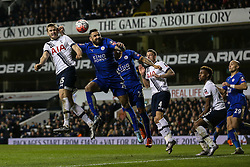 Eric Dier of Tottenham Hotspur heads the ball - Mandatory byline: Jason Brown/JMP - 07966386802 - 10/01/2016 - FOOTBALL - White Hart Lane - London, England - Tottenham v Leicester City - The Emirates FA Cup