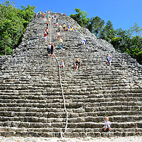 Ixmoja, Tallest Pyramid in Yucat&aacute;n at Mayan Ruins in Coba, Mexico <br /> The Mayan civilization lasted more than 2,500 years and left behind over 4,000 archeological sites. The two most famous and visited ancient cities in the northern Yucat&aacute;n Peninsula are Chich&eacute;n Itz&aacute; and Tulum.  However, the tallest pyramid in the region at 138 feet is Ixmoja at Coba, Mexico. Also called Nohoch Mul, this stepped pyramid measures almost 200 feet at the base. The surrounding ruins provide hints of what this city looked like when it was populated by 50,000 people.