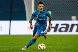 October 4, 2018 - Saint Petersburg, Russia - Sebastian Driussi of FC Zenit Saint Petersburg in action during the Group C match of the UEFA Europa League between FC Zenit Saint Petersburg and SK Sparta Prague at Saint Petersburg Stadium on October 4, 2018 in Saint Petersburg, Russia. (Credit Image: © Mike Kireev/NurPhoto/ZUMA Press)