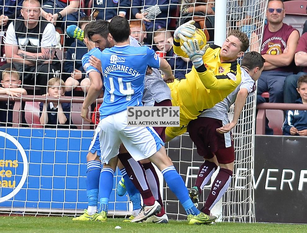 St Johnstone goalkeeper Alan Mannus saves from Alim &Ouml;zt&uuml;rk (Hearts)<br /> <br /> <br /> (c) DAVE JOHNSTON | SportPix