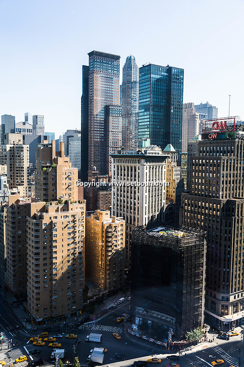 New York. Elevated view on Colombus circle buildings,  central park and the skyline of Manhattan New York - United states  / Colombus circle buildings ,  central park et le skyline de Manhattan   New York - Etats unis