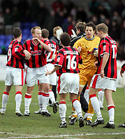 Photo: Paul Thomas. Chester City v Yeovil Town. Deva Stadium, Chester. Coca Cola League Two. 19/02/2005. The Yeovil team congratulate each other after their 2 -0 win over Chester.