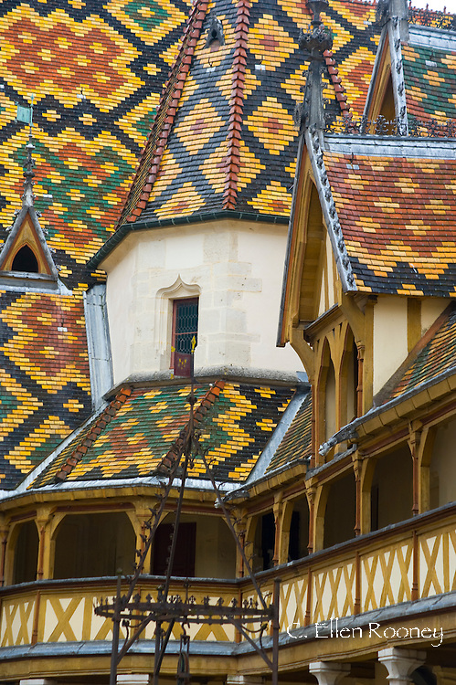 The colourful tiled roof at the Hotel Dieux in Beaune, France
