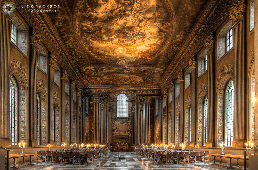 The magnificent Painted Hall in the Old Royal Naval College in Greenwich is recognised as the greatest piece of decorative painting in England and has been described as &lsquo;the Sistine Chapel of the UK&rsquo;. <br /> <br /> Designed by Sir Christopher Wren and Nicholas Hawksmoor, it was originally intended as an dining hall for the naval pensioners who lived here at the Royal Hospital for Seamen.