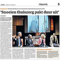 Tekst en beeld zijn auteursrechtelijk beschermd en het is dan ook verboden zonder toestemming van auteur, fotograaf en/of uitgever iets hiervan te publiceren <br /> <br /> Parool 11 mei 2013: publiek gesprek over de thuiszorg