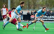 ALMERE - Hockey - Hoofdklasse competitie heren. ALMERE-HGC (0-1) . Pelle Vos (HGC) met links Willem Rath (HGC)   COPYRIGHT KOEN SUYK