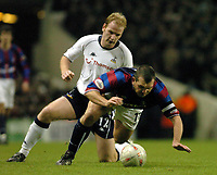 Picture: Henry Browne.<br /> Date: 03/01/2004.<br /> Tottenham Hotspur v Crystal Palace FA Cup 3rd Round.<br /> Neil Shipperly of Palace is sent flying by Gary Doherty who gets booked.