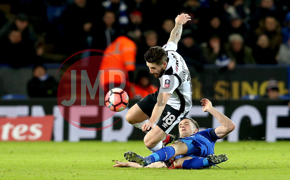Jacob Butterfield of Derby County is tackled by Andy King of Leicester City - Mandatory by-line: Robbie Stephenson/JMP - 08/02/2017 - FOOTBALL - King Power Stadium - Leicester, England - Leicester City v Derby County - Emirates FA Cup fourth round replay