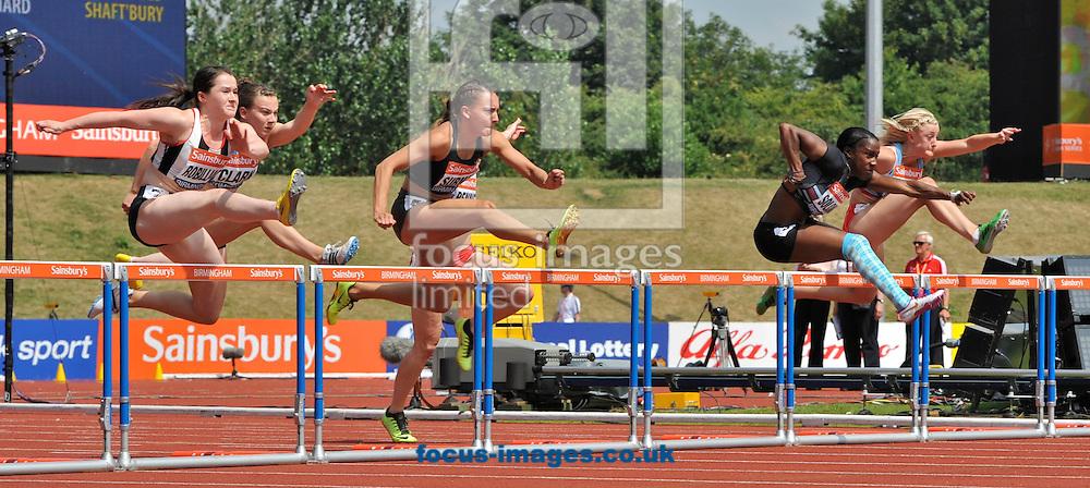 Picture by Alan Stanford/Focus Images Ltd +44 7915 056117<br /> 12/07/2013<br /> Serita Solomon (GBR) 100m Hurdles heat pictured during day two of Sainsbury's British Championship at Alexander Stadium, Birmingham.