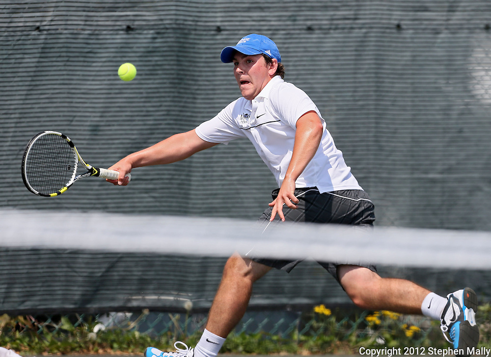 Luther's Nick Mozena reaches out to return the ball during his match against Coe's Sean Stokstad in the Iowa Conference Men's Tennis Championships at Veterans Memorial Tennis Center in Cedar Rapids on Saturday afternoon, May 5, 2012. (Stephen Mally/Freelance)