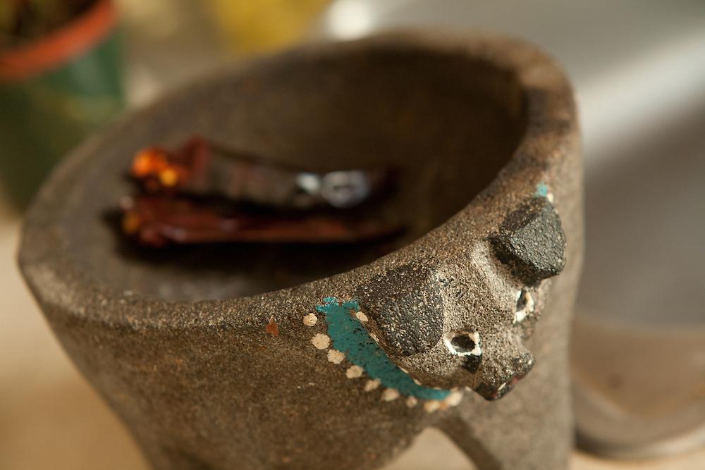 A molcajete, or mortar, in the kitchen of Nahuatl speaker and teacher Irwin Sanchez.