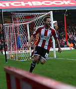 Judge goal celebration during the Sky Bet Championship match between Brentford and Wolverhampton Wanderers at Griffin Park, London, England on 29 November 2014.