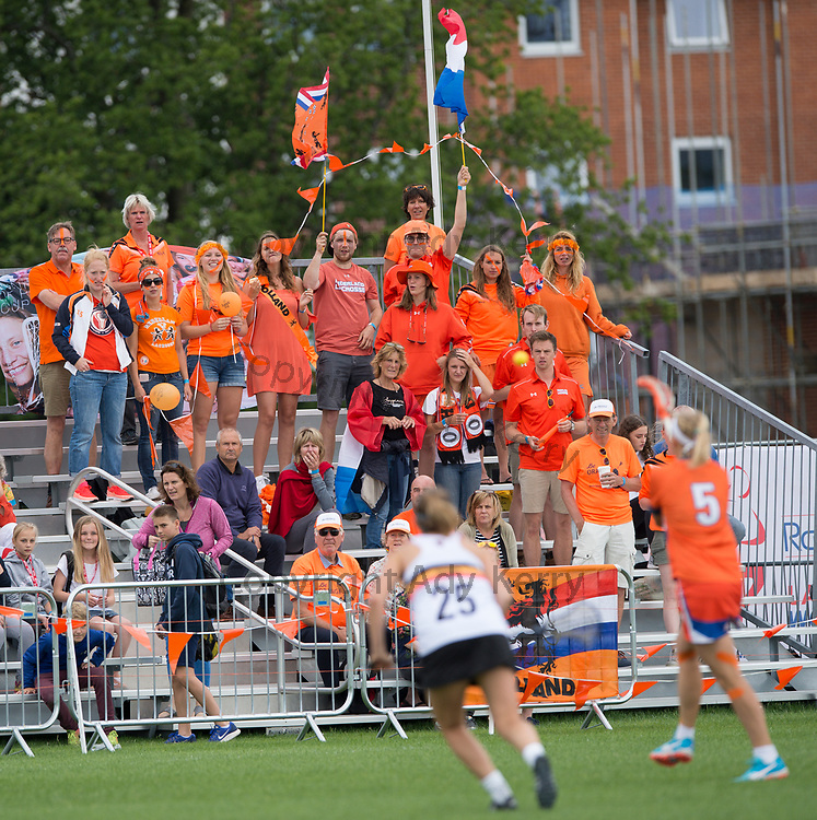 Netherlands fans  at the 2017 FIL Rathbones Women's Lacrosse World Cup, at Surrey Sports Park, Guildford, Surrey, UK, 14th July 2017.