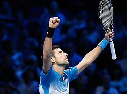 21-11-2015 GBR: ATP Tennis Tour Finals day 7, London<br /> Novak Djokovic (SRB) celebrates as he defeats Rafael Nadal (ESP) in semi-finals match by a score of 6-3, 6-3 <br /> <br /> ***NETHERLANDS ONLY***