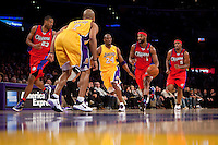 15 January 2010: Guard Baron Davis of the Los Angeles Clippers drives the ball down the court against the Los Angeles Lakers during the first half of the Lakers 126-86 victory over the Clippers at the STAPLES Center in Los Angeles, CA.